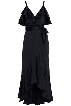 TEMPERLEY LONDON Carnation cold-shoulder ruffled satin midi dress