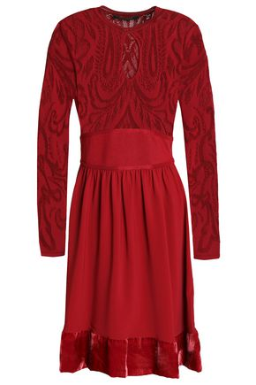 ROBERTO CAVALLI Cutout pointelle-knit and velvet-trimmed crepe dress