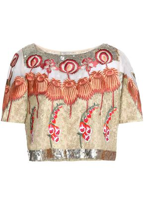 TEMPERLEY LONDON Silk organza-paneled embellished corded lace top