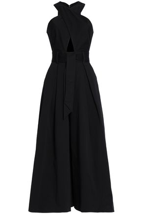 TEMPERLEY LONDON Cropped cutout belted cotton-blend gabardine jumpsuit