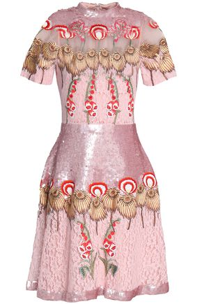 TEMPERLEY LONDON Silk organza-paneled embellished corded lace dress