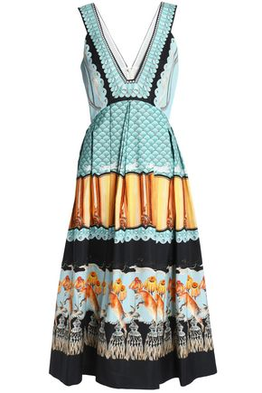 Pleated Printed Cotton Blend Dress by Temperley London