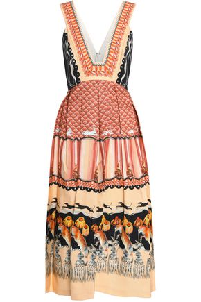 TEMPERLEY LONDON Pleated printed cotton-blend dress