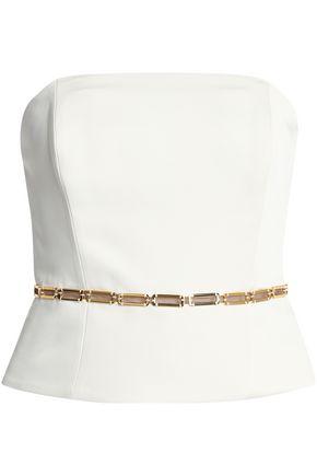 HALSTON HERITAGE Strapless draped satin mini dress