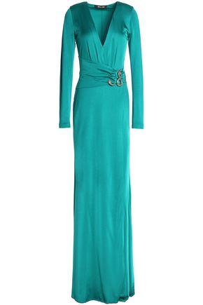 ROBERTO CAVALLI Wrap-effect embellished satin gown