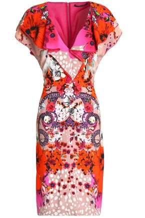 ROBERTO CAVALLI Ruffle-trimmed floral-print crepe dress