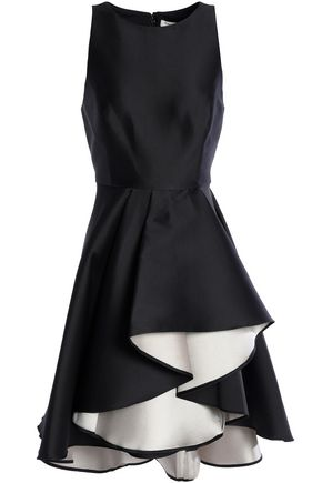 HALSTON HERITAGE Ruffled two-tone satin-twill dress