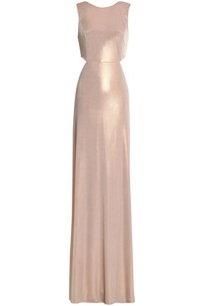 HALSTON HERITAGE Twist-back metallic crepe gown
