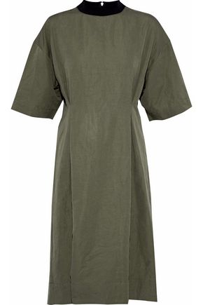 MARNI Gathered linen-blend poplin dress