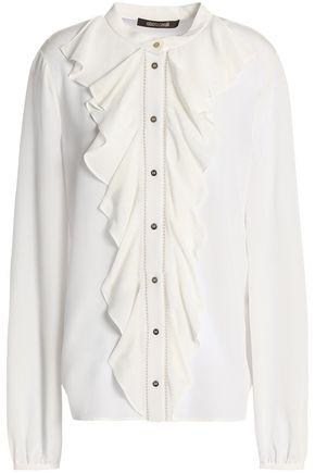 ROBERTO CAVALLI Ruffle-trimmed silk crepe de chine blouse