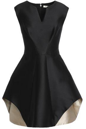 HALSTON HERITAGE Two-tone duchesse satin mini dress