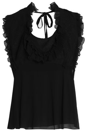 ROBERTO CAVALLI Ruffle-trimmed voile top