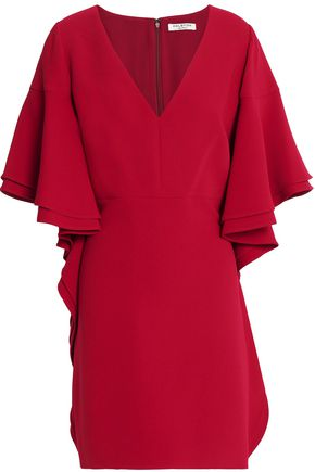 HALSTON HERITAGE Ruffled crepe mini dress