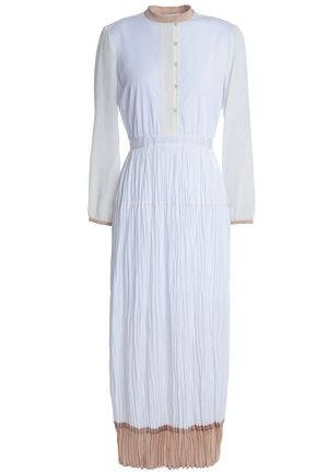 AGNONA Silk-trimmed crinkled cotton-poplin midi dress