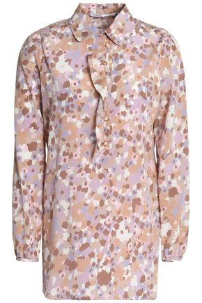 AGNONA Printed silk-blend crepe blouse