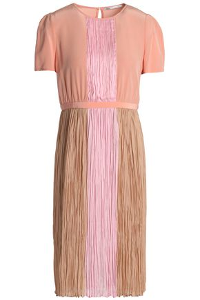 AGNONA Color-block plissé silk crepe de chine dress