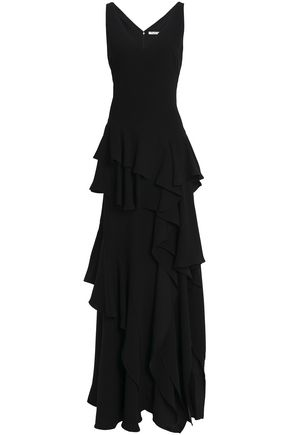 HALSTON HERITAGE Tiered ruffled crepe gown