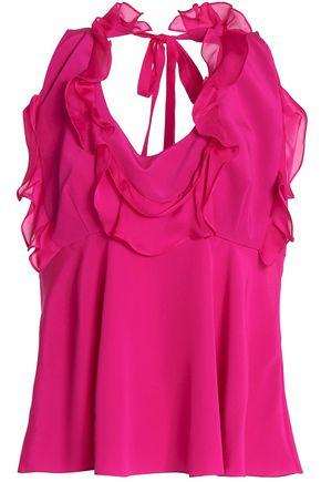 ROBERTO CAVALLI Tie-back ruffle-trimmed silk-chiffon blouse