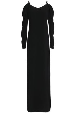 HALSTON HERITAGE Cold-shoulder bead-embellished crepe gown