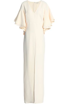 WOMAN SPLIT-FRONT CREPE GOWN CREAM