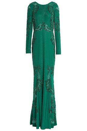 ROBERTO CAVALLI Embellished silk-crepe gown
