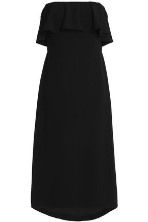 HALSTON HERITAGE Off-the-shoulder ruffled crepe midi dress