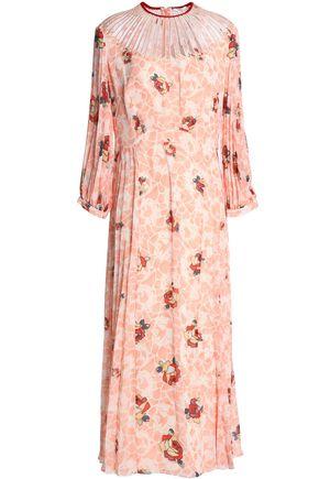 VILSHENKO Pleated printed crepe midi dress