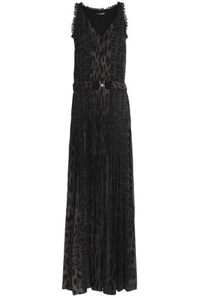 ROBERTO CAVALLI Paneled lace-trimmed pleated printed silk gown