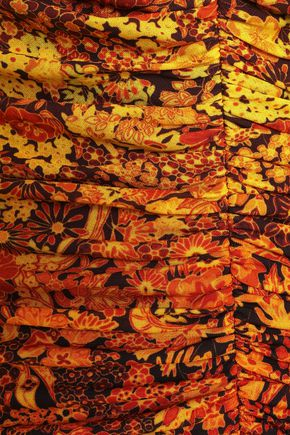 ROBERTO CAVALLI Gathered printed crepe mini dress