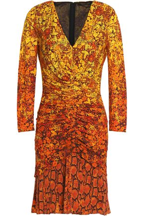 ROBERTO CAVALLI Gathered printed crepe mini dress
