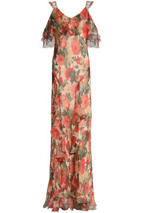 VILSHENKO Cold-shoulder floral-print silk-gorgette maxi dress