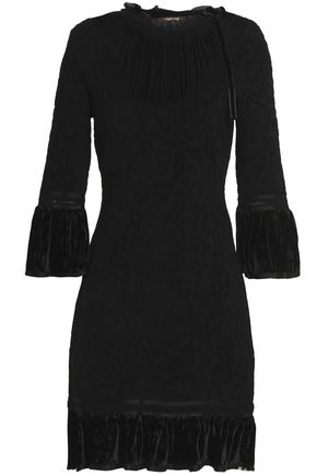 ROBERTO CAVALLI Pussy-bow crepe de chine-paneled flocked stretch-knit dress