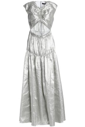 ELLERY Cutout ruched metallic linen-blend gown