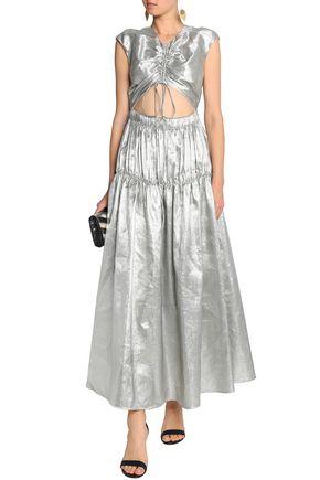 ELLERY Cutout ruched linen-blend lamé gown