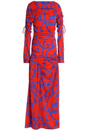 ELLERY Ruched printed silk-blend gown
