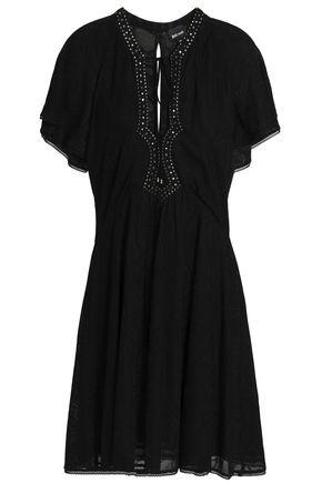 JUST CAVALLI Ruffled crystal-embellished jacquard-knit dress