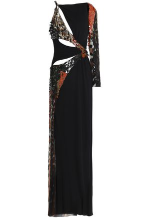 ROBERTO CAVALLI Cutout beaded sequined silk-georgette gown