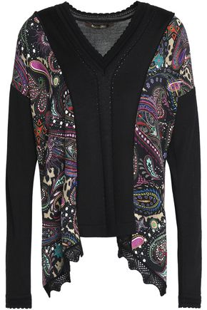 ROBERTO CAVALLI Printed silk crepe-satin and stretch-knit top
