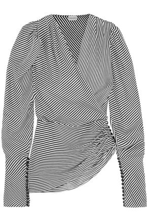 MAGDA BUTRYM Ronda wrap-effect striped silk-jacquard blouse
