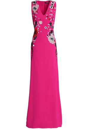 ROBERTO CAVALLI Embellished crepe gown