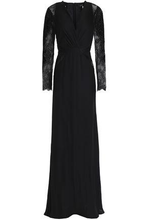 ROBERTO CAVALLI Velvet-trimmed embellished crepe gown