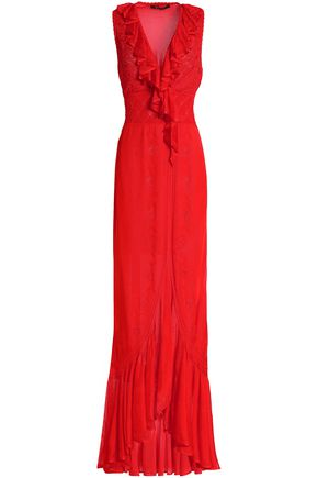 ROBERTO CAVALLI Wrap-effect ruffled pointelle knit gown