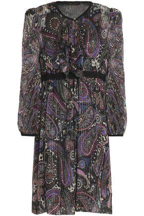 ROBERTO CAVALLI Ruffle-trimmed printed metallic silk-blend georgette dress