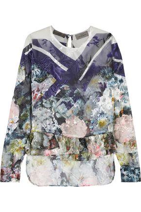 PREEN by THORNTON BREGAZZI Floral-print devoré silk-blend top
