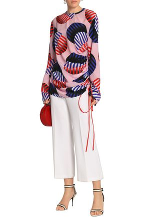 SOLACE LONDON Ruched printed silk blouse