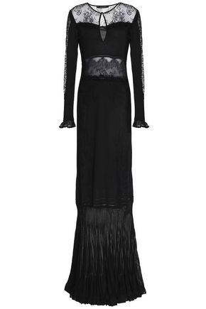 ROBERTO CAVALLI Lace-paneled pleated stretch-knit gown