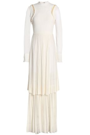 ROBERTO CAVALLI Tiered embellished pleated stretch-knit gown
