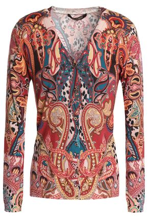 ROBERTO CAVALLI Printed wool, cashmere and silk-blend cardigan