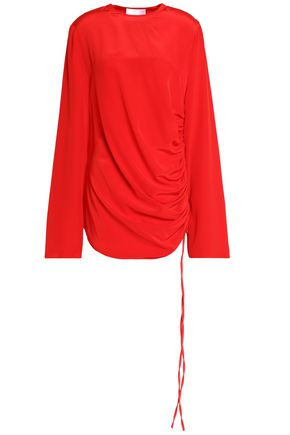 SOLACE LONDON Gathered silk blouse