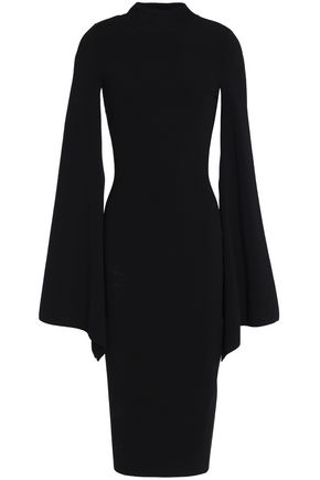 SOLACE LONDON Draped cutout stretch-knit midi dress